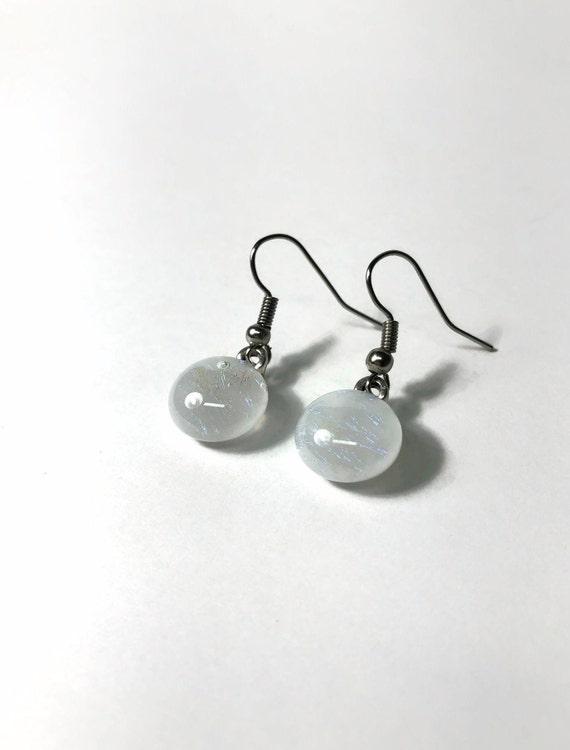 Glass jewelry, white glass earrings, unique gifts for her, dichroic glass earrings, jewelry for her, fused glass earrings, best friend gifts