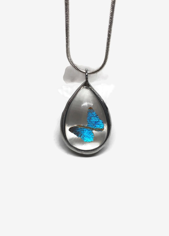 Real Butterfly jewelry, unique jewelry, butterfly pendant, real butterfly necklace, butterfly wing, gifts for her, Blue Morpho Pendant