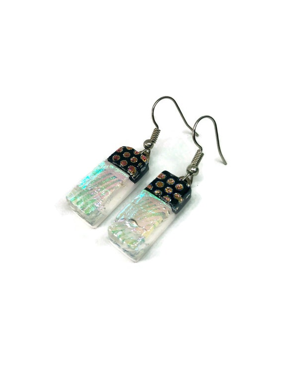 glass earrings, unique jewelry, glass jewelry, unique gifts for her, dichroic glass jewelry, statement jewelry, Fused glass earrings, gifts