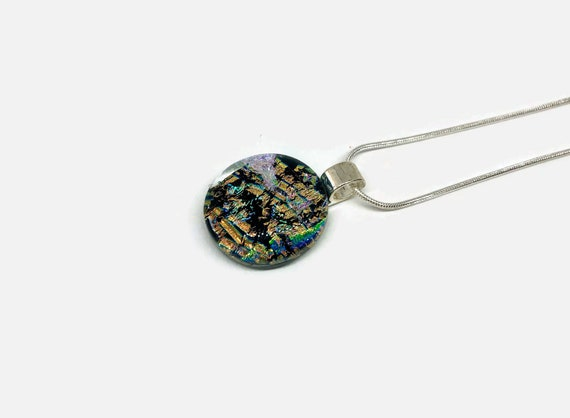 Dichroic glass jewelry, Unique gifts for her, Glass Pendant, jewelry for her, Fused Glass Jewelry, Minimalist pendant, Glass jewelry, gifts