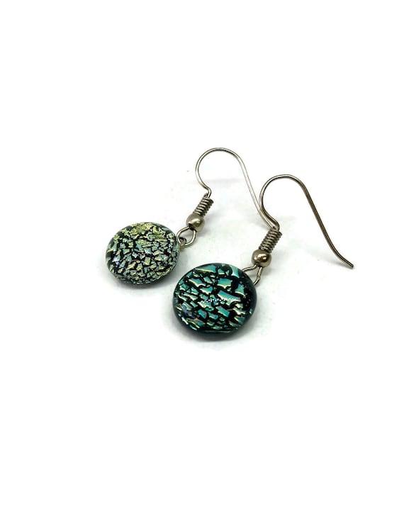 Dichroic glass earrings, dichroic glass jewelry, fused glass earrings, glass earrings, fused glass jewelry, lass jewelry, Dangle earrings
