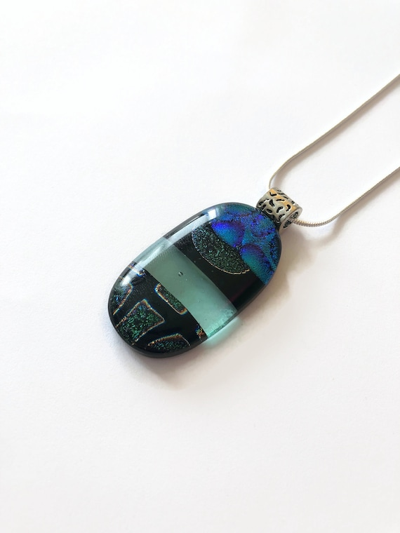 Handcrafted Dichroic Glass statement Pendant, best friend gifts, Fused glass necklace