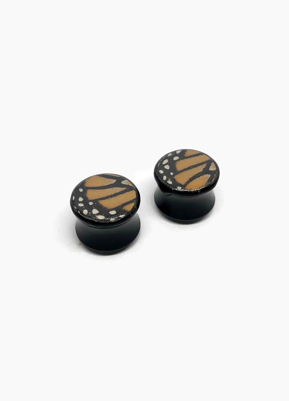 Butterfly jewelry, ear plugs and tunnels, butterfly ear plugs, pair of plugs, butterfly ear tunnels, Unique gifts, real butterfly wing, gift