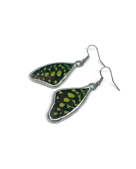 Butterfly jewelry, unique gifts for her, statement earrings, butterfly earrings, Butterfly taxidermy, real butterfly wing, unique jewelry
