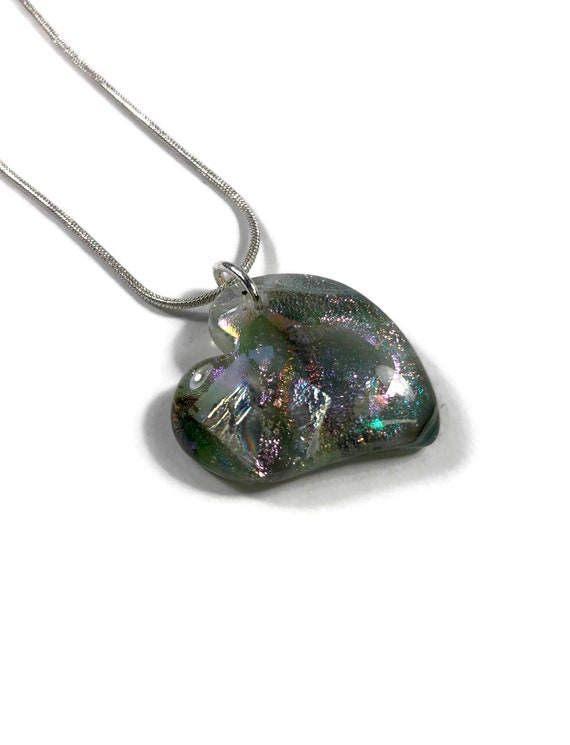 Fused glass necklace, Unique gifts, Heart necklace, Dichroic glass jewelry, Dichroic Glass Necklace, Glass Jewelry, gifts for her, glass art