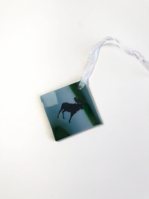 Moose ornament, fused glass ornament, Unique gifts for him, glass ornament, unique art, unique gifts for her, Christmas decor, tree ornament