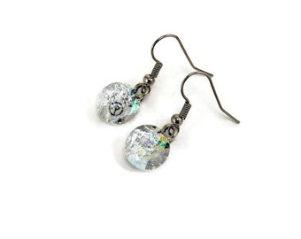Dichroic glass jewelry, Sparkle earrings, bridal jewelry, fused glass earrings, glass jewelry