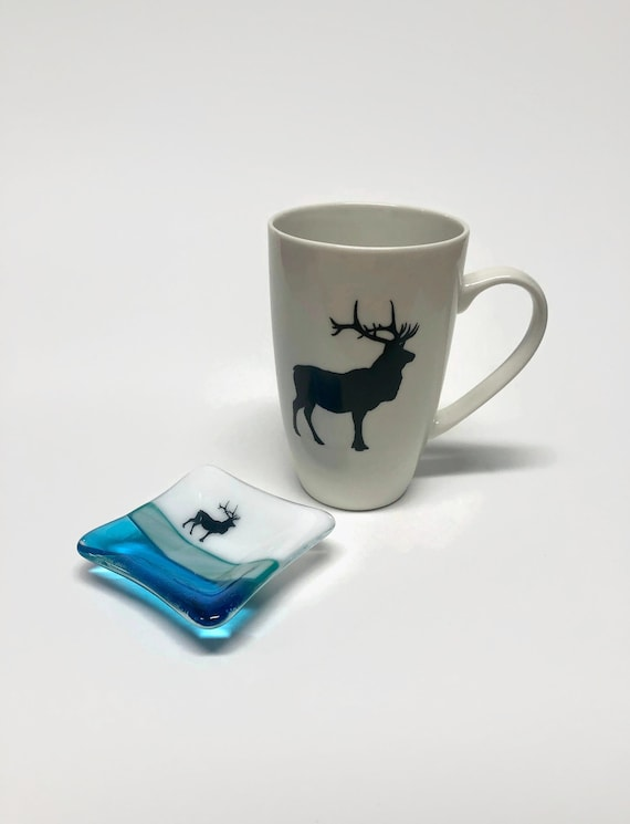 Coffee cup, unique gifts, tea bag dish, fused glass art, gifts for her, coffee cup, home decor, mountain decor, elk themed mug, unique art