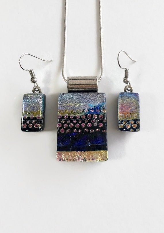 Fused Glass jewelry, statement jewelry, bridesmaid gifts, unique gifts for her, dichroic glass jewelry, glass jewelry, jewelry for her, gift