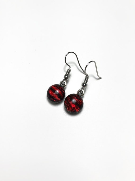 Fused glass earrings, Red earrings, gifts for her, dichroic glass jewelry, glass jewelry, sparkle earrings, statement jewelry