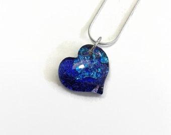 glass jewelry, Fused Glass Pendant, Blue Heart pendant, Dichroic glass Necklace, Statement pendant, bohemian pendant, best friend gifts