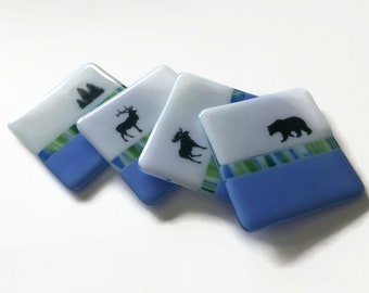 Glass coasters, Wildlife coasters, Fused Glass drink coasters, glass art, wildlife home decor, wildlife table art, nature lover gifts