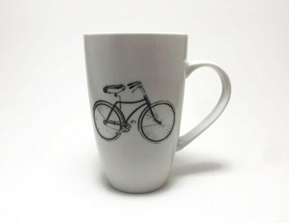 Bike Coffee cup, unique gifts for him, porcelain mug, cruiser bike, coffee mug, bike home decor, cycling cup, bike themed mug, unique gifts