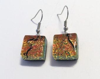 Fused glass Earrings, copper earrings, Dichroic glass jewelry, sparkle Glass earrings, statement earrings, drop earrings