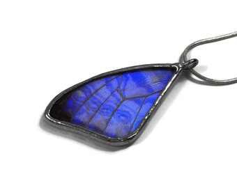 Butterfly pendant, blue necklace, blue morpho Butterfly, recycled insect jewelry, Stained glass butterfly pendant, butterfly taxidermy