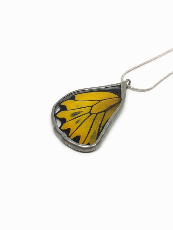 Handcrafted yellow pendant, stained glass pendant, butterfly jewelry, butterfly lover, unique gifts for her, insect necklace