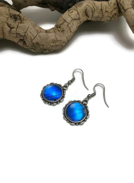Unique jewelry, Real Butterfly jewelry, insect jewelry, butterfly earrings, glass earrings, Blue Morpho Earrings, real butterfly wing