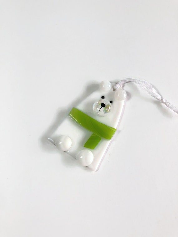 Glass ornament, unique gifts for her, bear ornament, fused glass decoration, Christmas decoration, glass ornament, Christmas ornament, gifts
