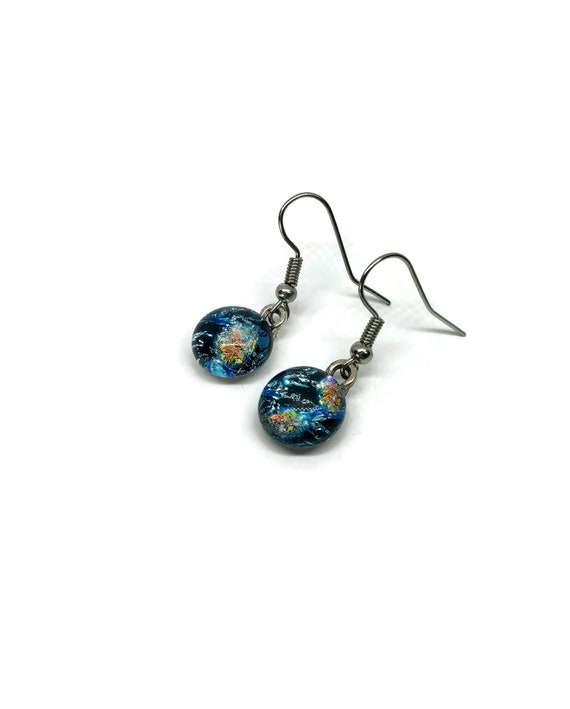 Glass jewelry, unique gifts for mom, jewelry for her, fused glass earrings, glass earrings, dichroic glass earrings, bridal jewelry, gifts