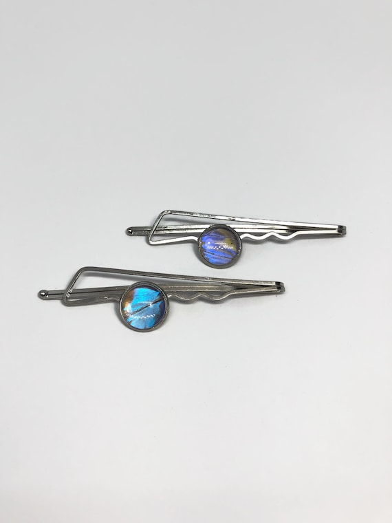 Blue morpho butterfly wing hair jewelry unique gifts for her