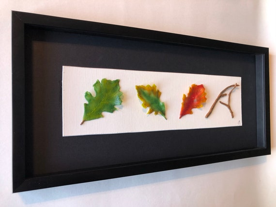Fused Glass oak leave art, Unique gifts for her, glass home decor, glass sculpture