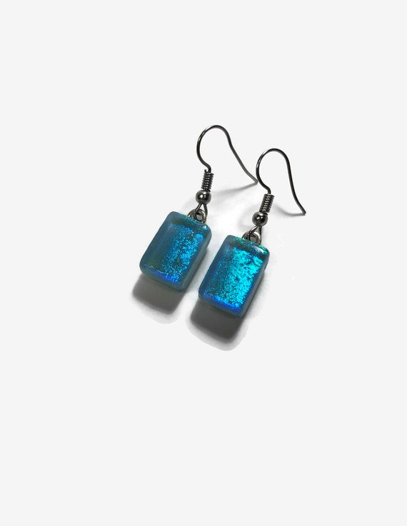 Glass jewelry, gifts for her, dichroic glass earrings, fused glass earrings, glass earrings, dichroic glass earrings, dangle earrings