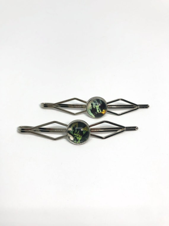 butterfly wing hair jewelry, green and black butterfly Hair pins, unique gifts for her