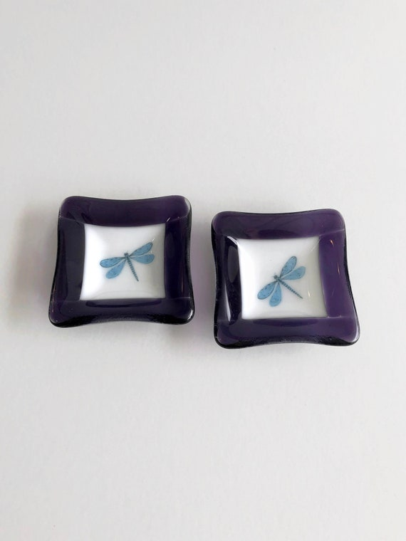 Fused Glass plate, unique gifts, fused glass art, tea bag dish, gifts for her, candy dish, unique art, dragonfly decor, glass art, gifts