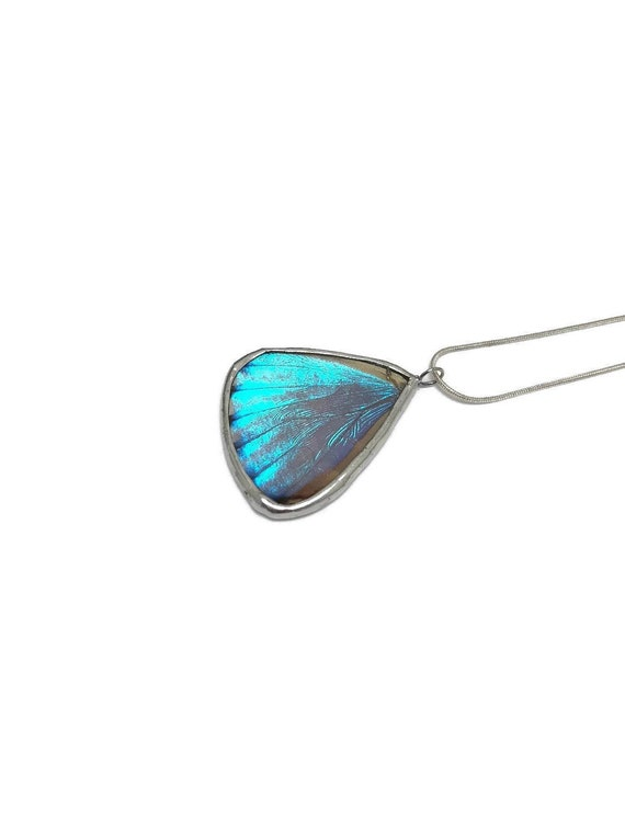 Blue morpho butterfly wing pendant, jewelry for her, Unique gifts for mom, Butterfly Taxidermy, Best friend gifts