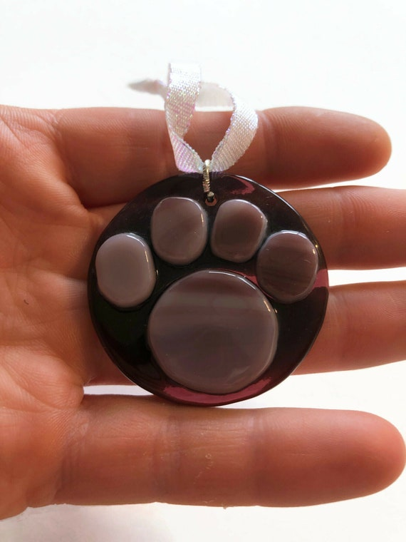 Fused Glass paw suncatcher ornament, Unique gifts for him, paw print home decor, animal lover gifts, glass sculpture