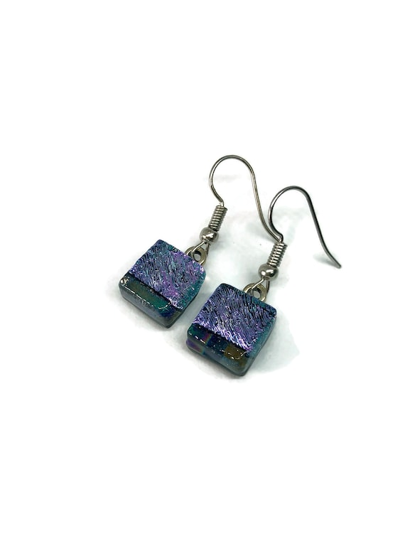 Glass earrings, Jewelry for her, fused glass earrings, best friend gifts, unique jewelry for her, Dichroic Glass Earrings, statement jewelry