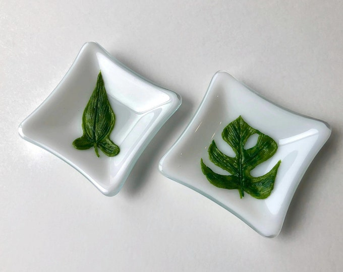 Featured listing image: Monstera plate, fused glass Art, unique art, plant art, gifts for her, Fused glass art, Plant home decor, Glass sculpture, plant lover