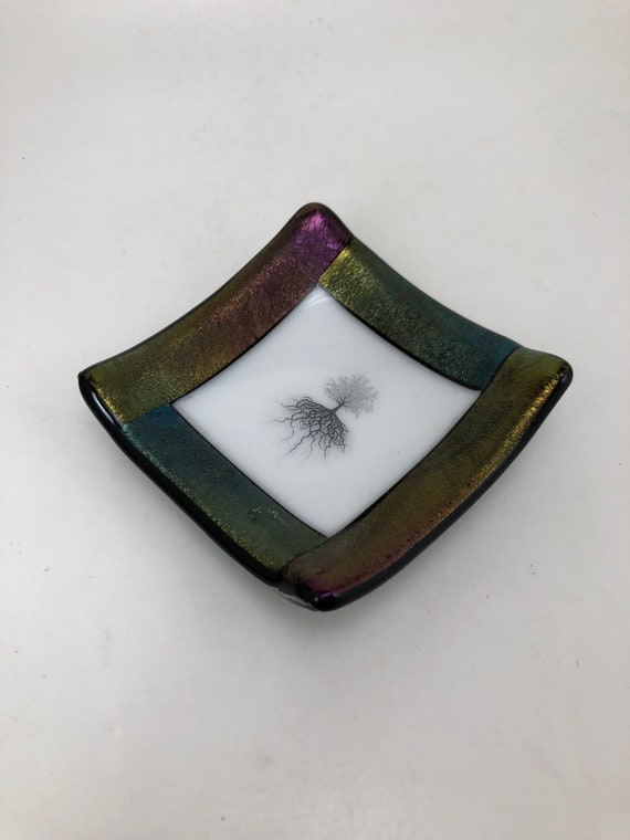 Fused glass plate, glass art, glass dish, glass dish, glass plate, decor, jewelry dish, candy dish, spoonrest, dish, fused glass plate