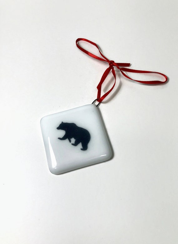 Tree ornament, unique gifts for her, Bear decor, Christmas decor, Christmas decoration, glass ornament, fused glass ornament, unique gifts