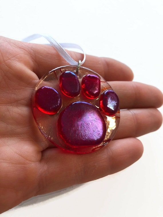 Handcrafted Glass paw keepsake suncatcher, Unique gifts for her, animal lover gifts