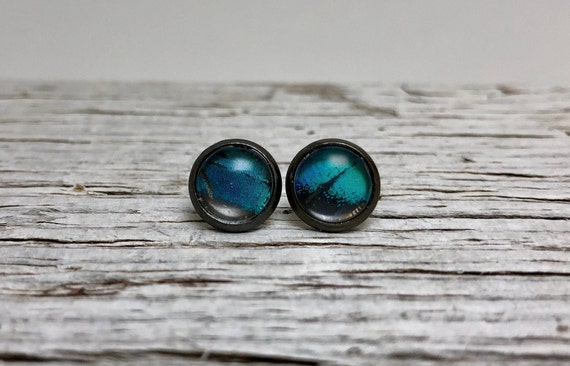 Handcrafted real butterfly wing stud earrings, insect jewelry, gifts for her, butterfly taxidermy