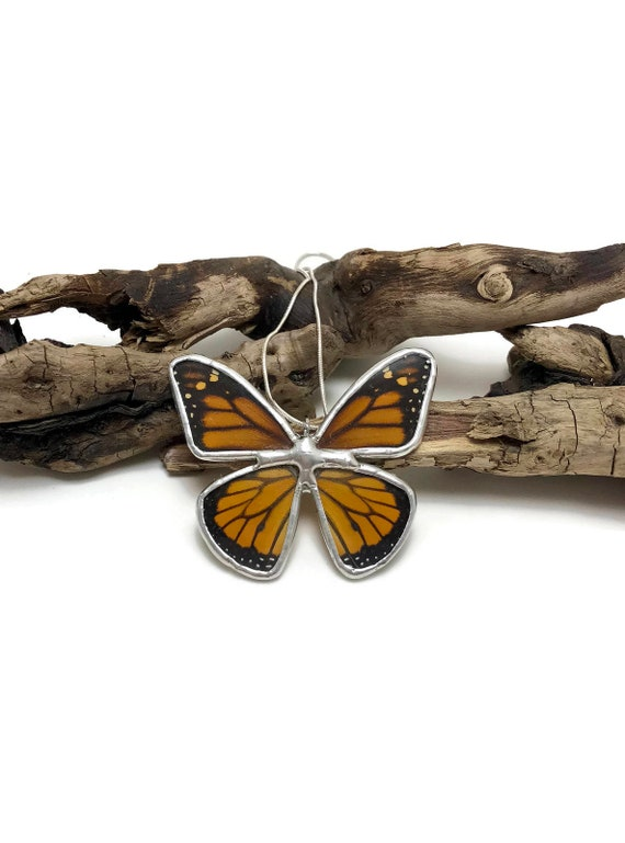 Real Butterfly Necklace, Unique gifts for her, real butterfly wing, statement jewelry, butterfly Pendant, gifts for her, Monarch butterfly