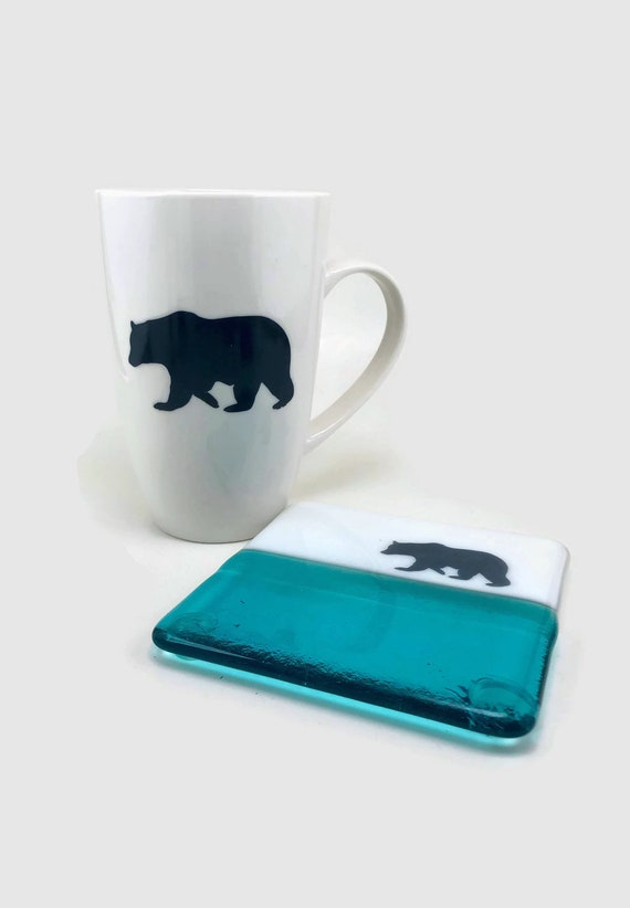 Fused glass art, bear Coffee mug, unique gifts for him, glass coaster, bear home decor, fused glass coaster, gifts for her, mountain art