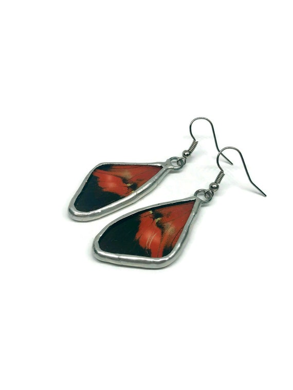 Red and black Butterfly wing earrings, unique gifts for her, real butterfly wing, jewelry for her, butterfly gifts, butterfly taxidermy