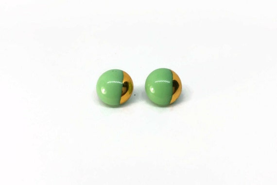 Green and gold fused Glass minimalist studs earrings, Unique gifts for her, fused glass statement jewelry