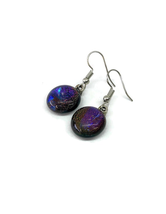 Fused Glass jewelry, glass earring, dichroic glass earrings, fused glass earrings, glass earrings, dichroic glass earrings, dangle earrings