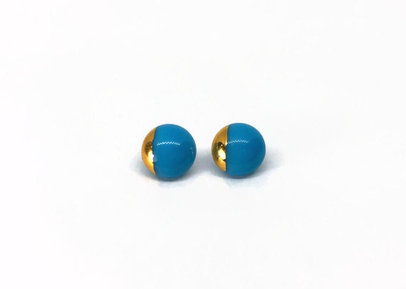 Fused Glass blue and gold stud Earrings, Unique gifts for mom, glass minimalist jewelry, dichroic glass earrings