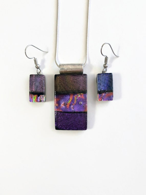 glass jewelry, unique gifts for her, fused glass jewelry, jewelry for her, glass jewelry set, unique jewelry, Dichroic glass jewelry, gifts