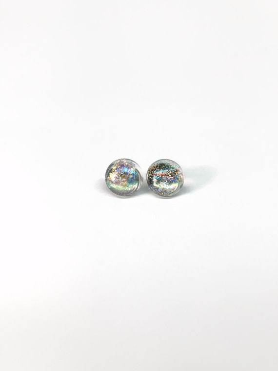 Rainbow fused Glass minimalist earrings, dichroic glass studs, bridal jewelry, unique gifts for her
