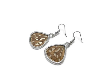 Butterfly wing earrings, Silver and burnt orange earrings, insect jewelry, Butterfly wing taxidermy jewelry, butterfly lover gifts