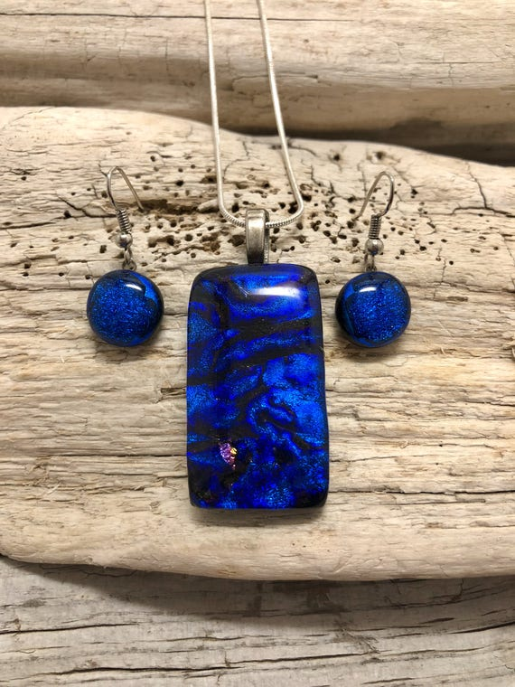 Dichroic glass pendant, dichroic glass jewelry, fused glass pendant, dichroic glass earrings,  fused glass jewelry, pendant and earring set