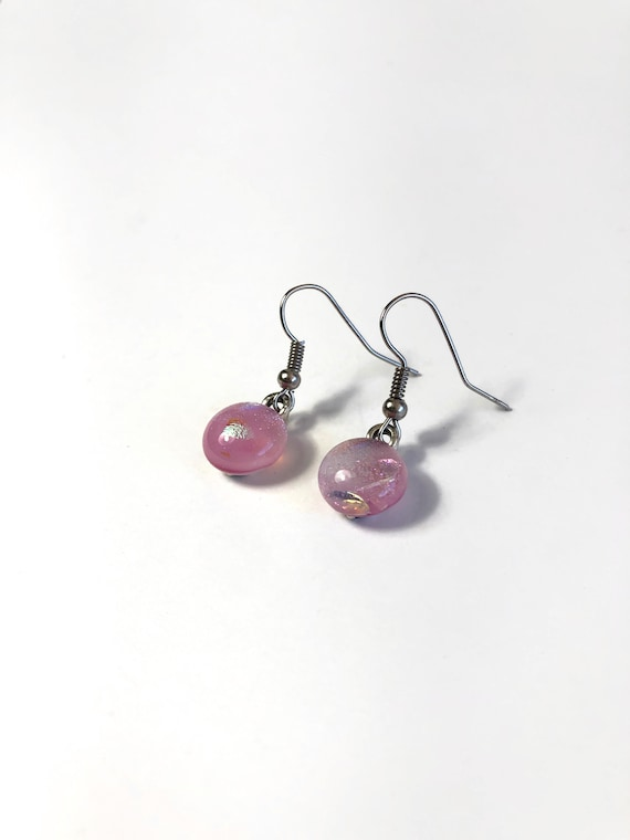 Glass earrings, jewelry for mom, fused glass earrings, unique Gifts for mom, dichroic glass earrings, unique gifts, minimalist jewelry, gift