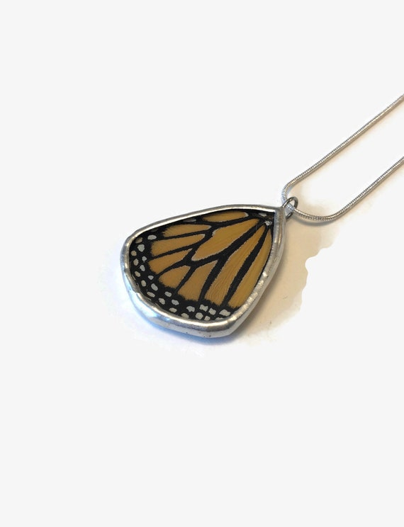 Monarch Butterfly pendant, recycled necklace, unique gifts for her, insect jewelry, butterfly taxidermy jewelry