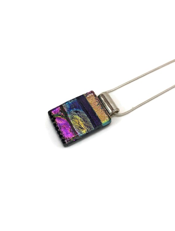 Dichroic glass pendant, Unique jewelry, glass jewelry, Statement jewelry, Dichroic Glass Necklace, Gifts for her, Fused glass Necklace