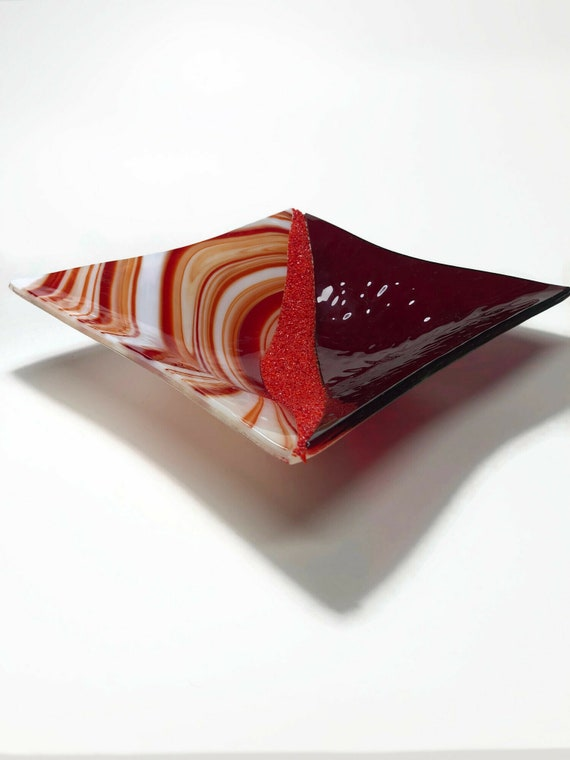 Fused glass red bowl, glass home decor, Unique gifts for her, glass sculpture